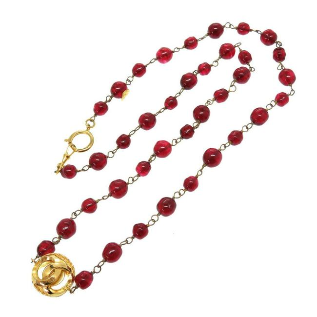Item - Gold / Red Color Vintage Coco Mark Stone Necklace