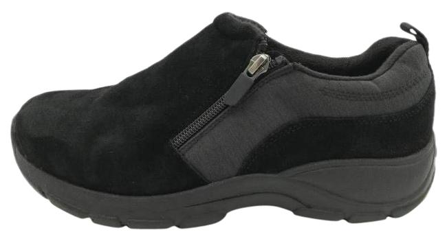 Item - Black Womens All Weather Sneaker 501811 Front Zip Low Wedges Size US 8 Wide (C, D)