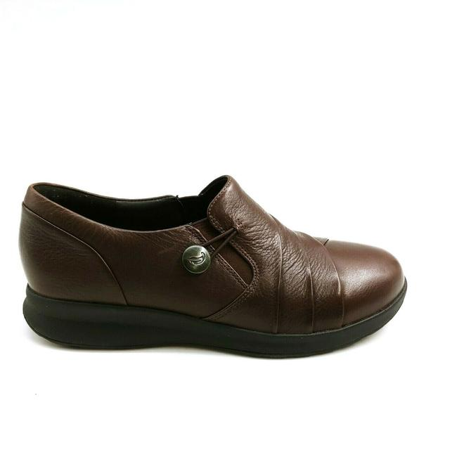 Item - Brown Womens Un Adorn Leather Loop Loafers Slip On 8 Wedges Size US 8.5 Regular (M, B)