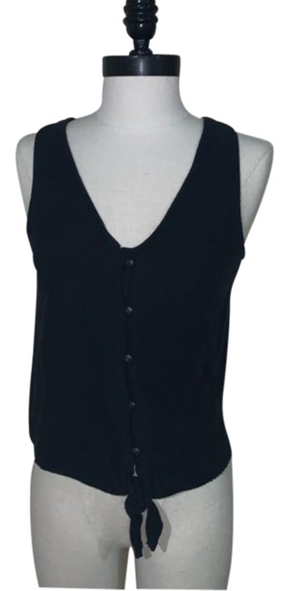 Item - Black Texture & Thread Tie Tank Button-down Top Size 4 (S)