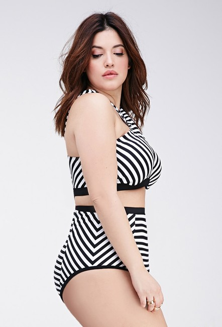 Forever 21 Forever 21 Plus Black White Striped High Waisted Bikini Set Swimsuit 1X