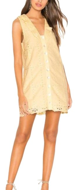 Item - Yellow Este Butter Eyelet Embroidered Short Casual Dress Size 8 (M)