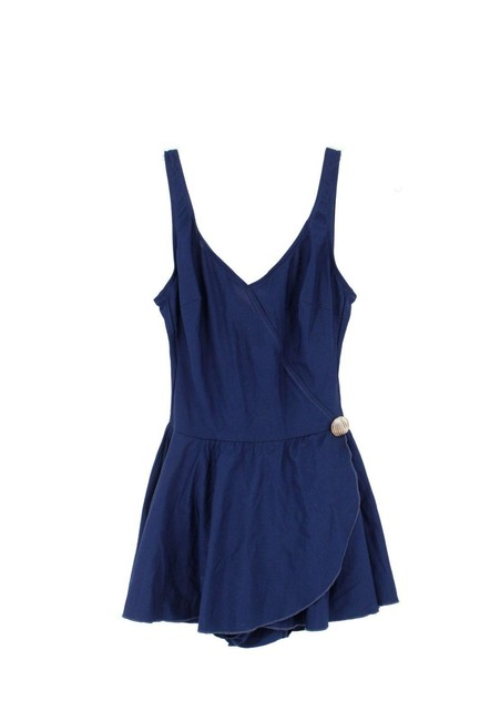 Item - Blue Navy Cross Over Gold Shell Button Skirted Swimsuit One-piece Bathing Suit Size 10 (M)