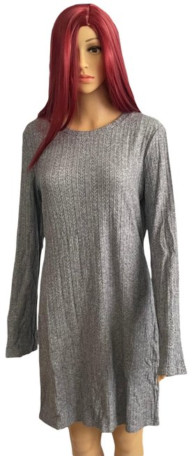 Item - Gray Lucia Slit Ribbed Knit Mid-length Short Casual Dress Size 16 (XL, Plus 0x)