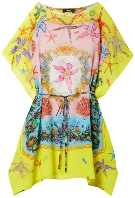 Item - Bright Yellow Belted Printed Silk Crepe De Chine Kaftan Cover-up/Sarong Size 14 (L)