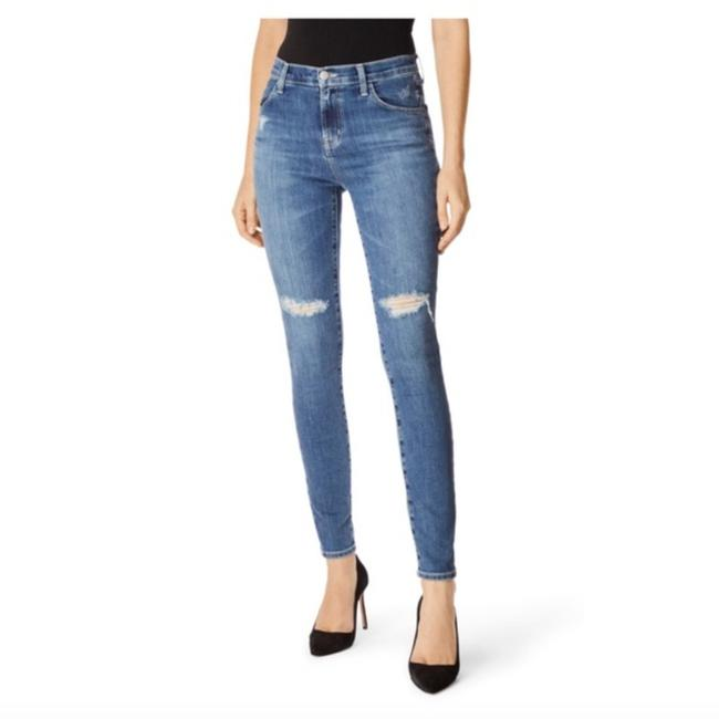 Item - Blue Distressed Maria High Rise In Motion Skinny Jeans Size 24 (0, XS)