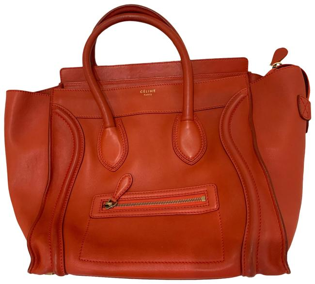 Item - Luggage Red Lambskin Leather Satchel