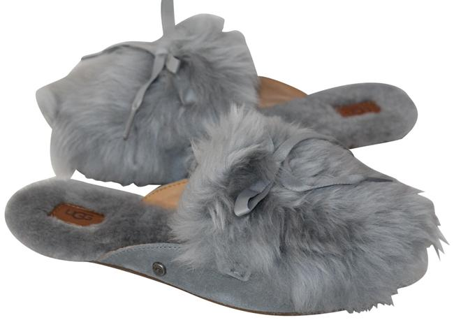 Item - Gray Shearling Fluff Suede Slip On Slippers Mules Flats Size US 7 Regular (M, B)