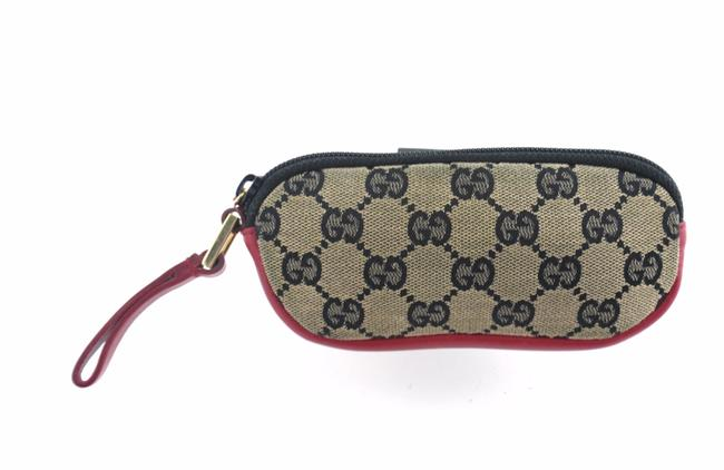 Item - Red Beige and Blue Supreme Gg Monogram Canvas Leather Travel Pouch Cosmetic Bag