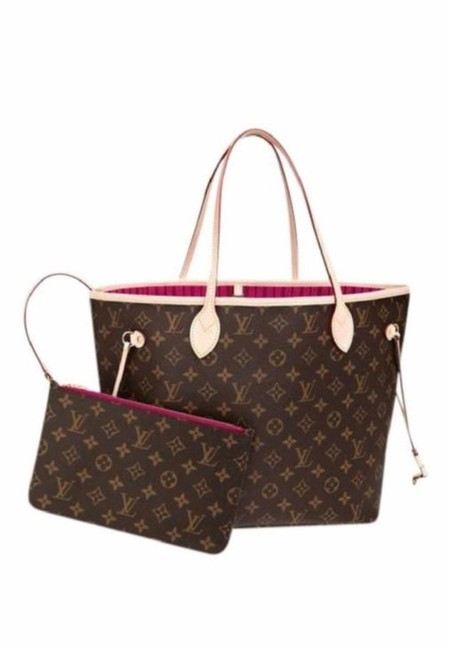 Item - Neverfull New Mm Monogram with Pouch and Pink Pivoine Lining Brown Canvas Tote