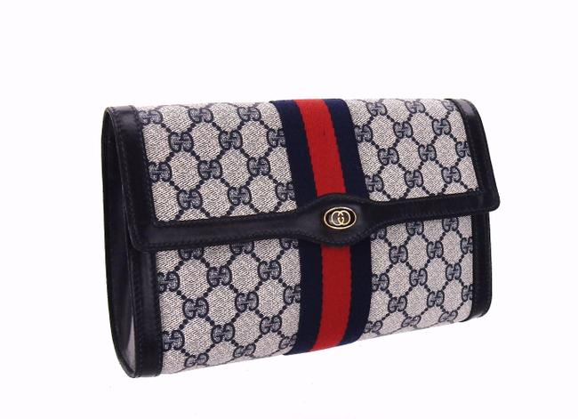 Item - Navy Blue Toiletry Gg Monogram Canvas and Leather Travel Dopp Cosmetic Bag