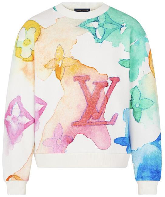 Item - White L Watercolor Multicolor Monogram Logo Crewneck Pull Sweater Sweatshirt/Hoodie Size 12 (L)
