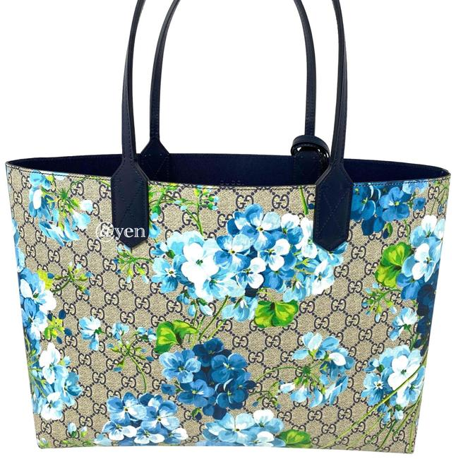 Item - Bag Blossoms Reversible Gg Blooms Blue Leather Tote
