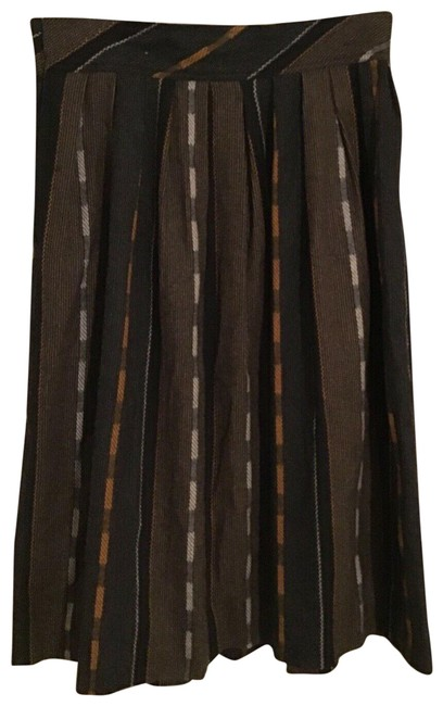 Item - Brown Multi Woven Wool Blend Pleat Skirt Size 10 (M, 31)