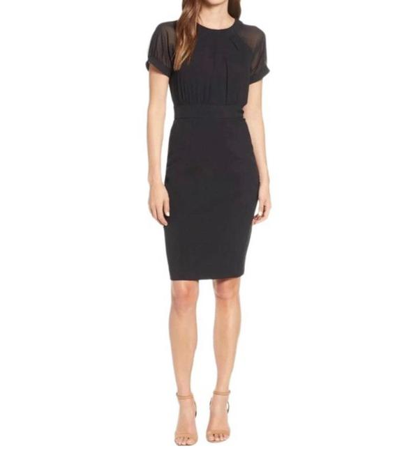 Item - Black Illusion Crepe Chiffon Sheath Knee Length Pencil Slim Mid-length Cocktail Dress Size 10 (M)