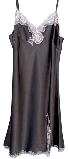 Item - Grey Very Sexy Lace Trim Satin Slip Small Short Night Out Dress Size 6 (S)