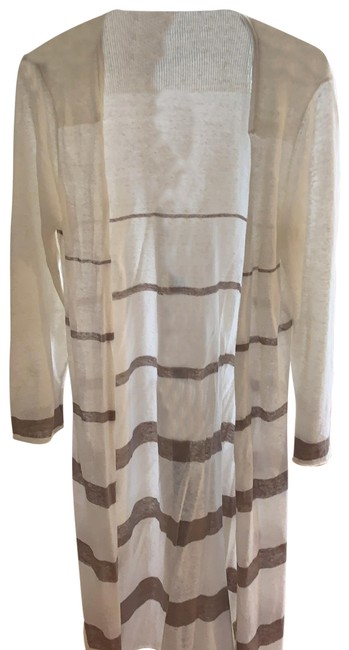 Item - Ivory and Taupe Duster Cardigan Size 8 (M)