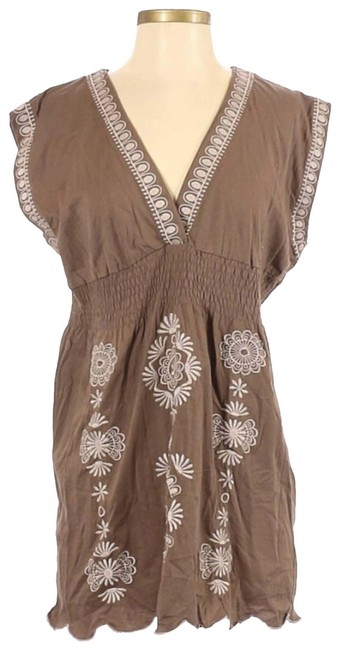 Item - Brown Sleeveless Embroidered Short Casual Dress Size 2 (XS)