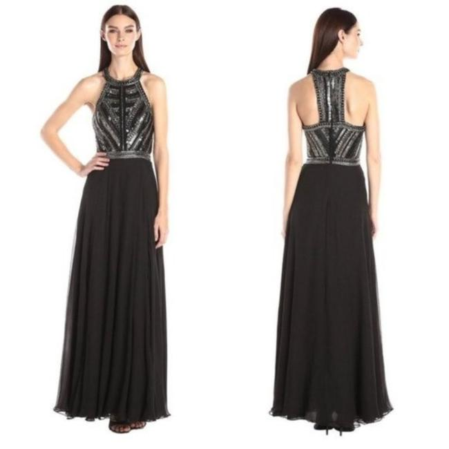 Item - Silver Black Normandy Embellished Bodice Evening Gown Long Formal Dress Size 2 (XS)