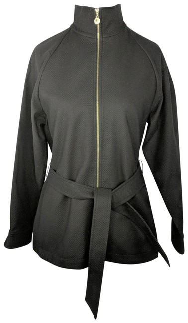 Item - Black Quilted Pattern Lightweight Belted Jacket Size 4 (S)
