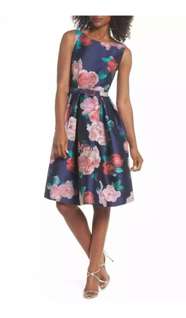 Item - Belted Floral Print Fit and Flare Short Cocktail Dress Size 12 (L)