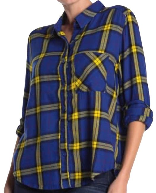 Item - Blue Yellow Plaid Shirt Small Button-down Top Size 6 (S)