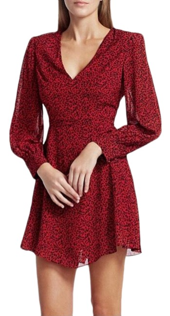 Item - Red and Black Polly Leopard Mini Short Casual Dress Size 6 (S)