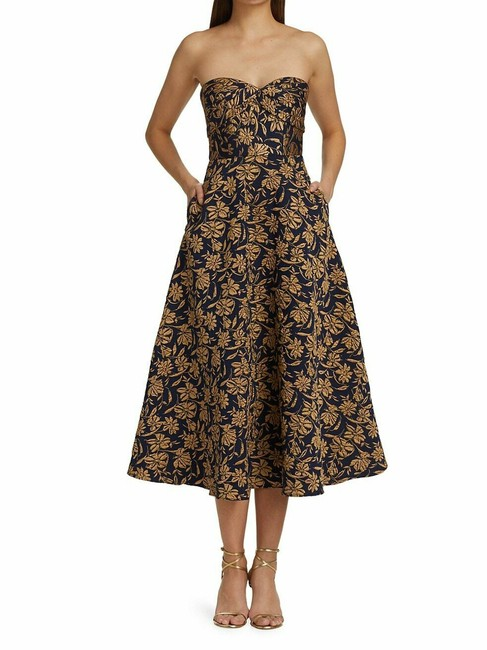Item - Navy/Gold Strapless Floral Jacquard Fit & Flare Midi Long Cocktail Dress Size 2 (XS)