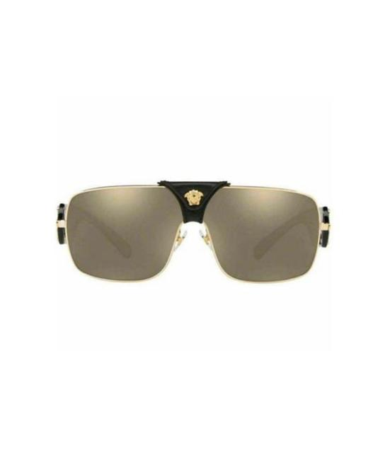 Item - Black and Gold Frame with Brown Mirrored Lens Ve2207q 1002/5 Square Unisex Sunglasses