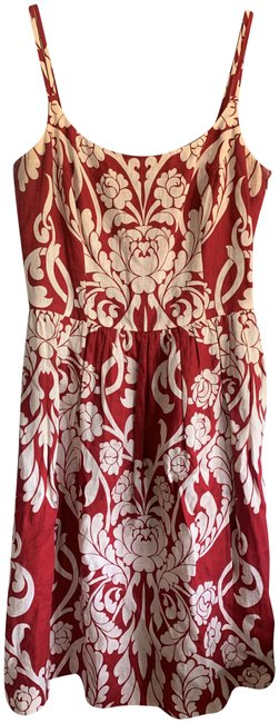 Item - Red and Cream Sundress Mid-length Cocktail Dress Size 8 (M)