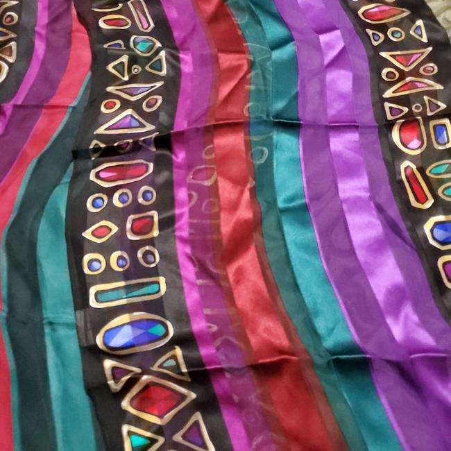 Item - Black and Multi Color Wearable Art Scarf/Wrap