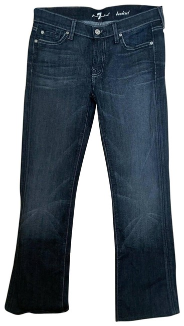 Item - Blue Dark Rinse Wash Low - Boot Cut Jeans Size 28 (4, S)