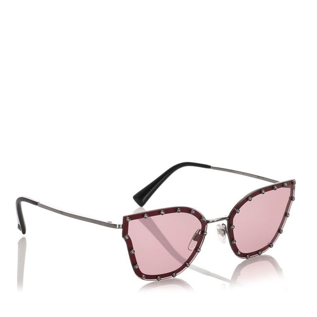 Item - Red Plastic Crystal Embelished Square Sunglasses