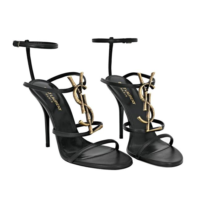 Item - Black Cassandre Ysl Logo Plaque 110mm Sandals Size EU 37 (Approx. US 7) Regular (M, B)