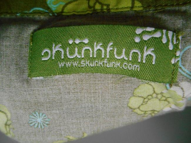 Skunkfunk Petri 4 Funkin' Out Beach Surf Vintage Lime Aqua Turquoise Funky Fun Lace Belt Tie Belt Colorful Unique European Skirt Olive with multi-colors