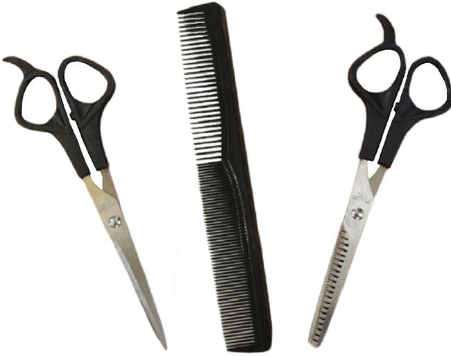 Item - Silver and Black 3 Piece Scissors & Blending Texturizing Thinning Shears Comb Set Hair Accessory