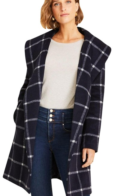 Ann Taylor Navy/Black/White Windowpane Shawl Collar Wrap Coat Size 4 (S) Ann Taylor Navy/Black/White Windowpane Shawl Collar Wrap Coat Size 4 (S) Image 1
