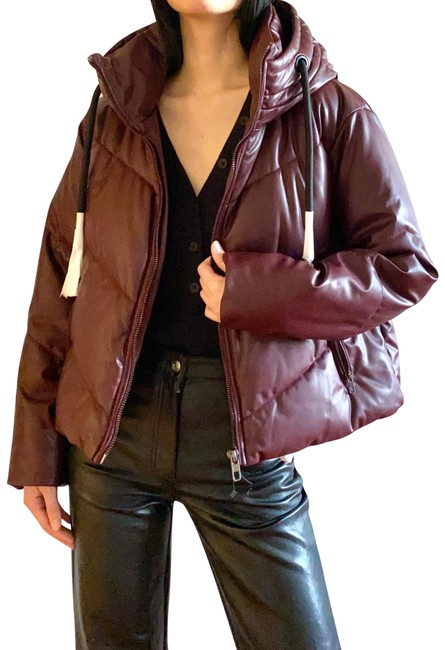 Item - Burgundy Faux Leather Puffer Jacket In Coat Size 2 (XS)