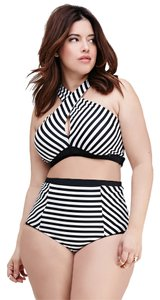 Foreve r21 Forever 21 Plus Black White Striped high waisted Bikini Set Swimsuit 3X