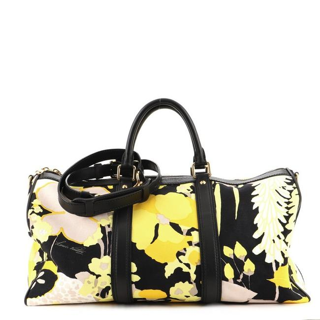 Item - Keepall Bandouliere Limited Edition 50 Black Print Yellow Canvas (Plain) Leather Satchel
