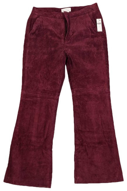 Item - Red Carson Maroon Suede Leather Pants Size 12 (L, 32, 33)