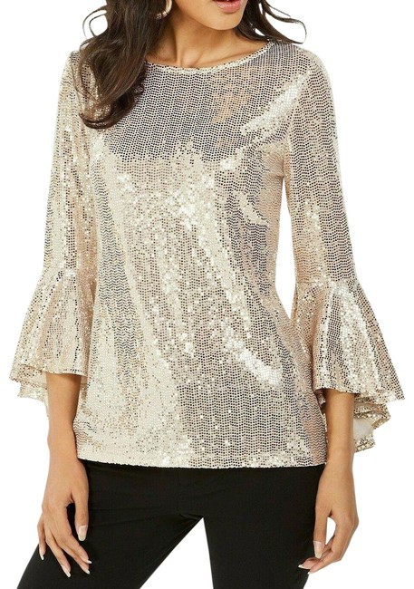 Item - Gold Mirror-dot Sequined Sparkle Bell-sleeve Blouse Size 8 (M)