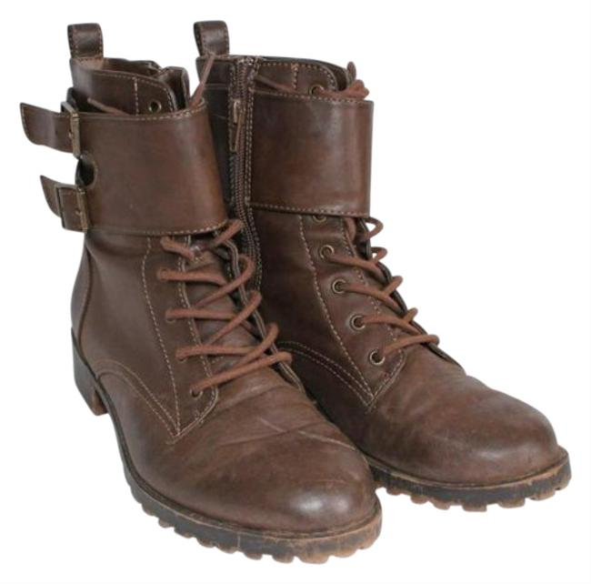 Item - Brown Faux Leather Combat Women's Boots/Booties Size US 7.5 Regular (M, B)