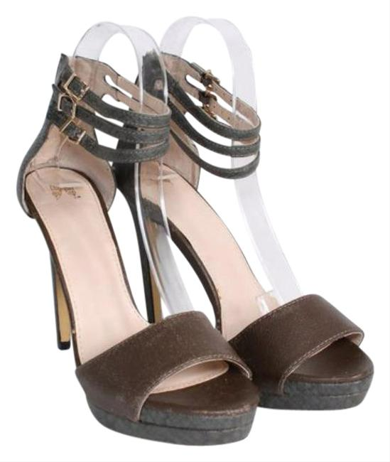 Item - Brown Grey Women's 8b Snake Print High Heel Open Toe Platform P Pumps Size US 8 Regular (M, B)