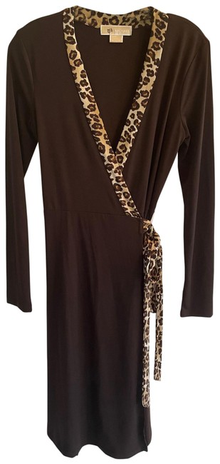 Item - Blk Brown Cheetah Wrap Mid-length Night Out Dress Size 2 (XS)