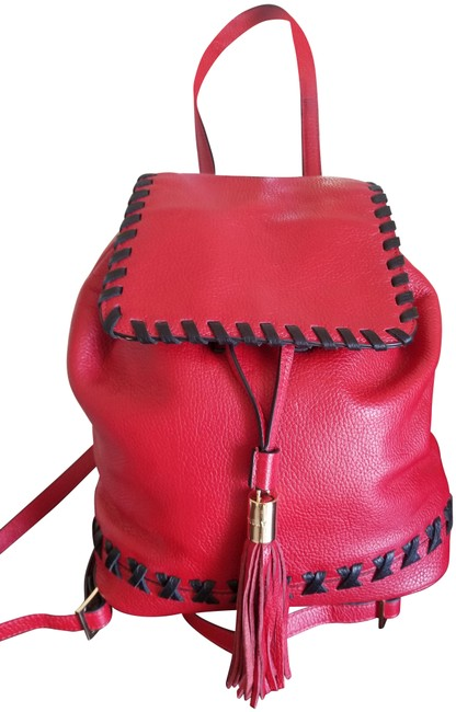 Item - Astor Stiched Red and Black Leather Backpack