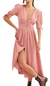 Pink Maxi Dress by Free People Gauze Fit And Flare Midi Empire Waist Boho