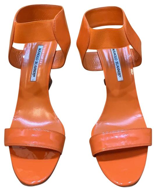 Item - Bright Orange Pattern Leather Sandals Wedges Size EU 40 (Approx. US 10) Regular (M, B)