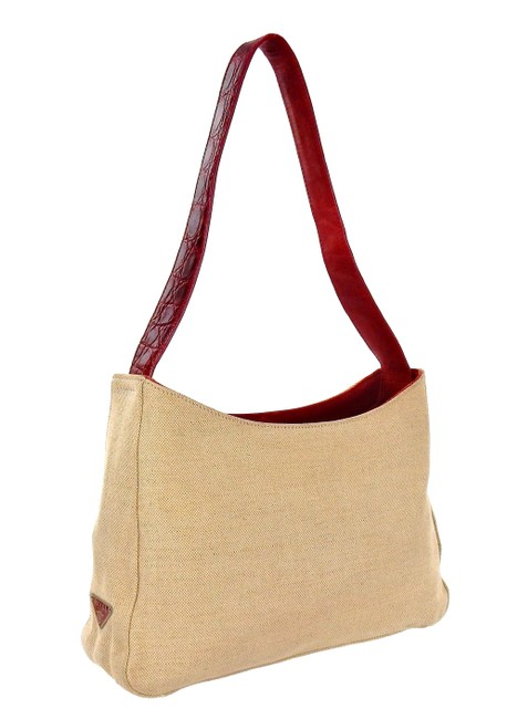 Item - Shoulder Beige and Red Canvas Leather Tote