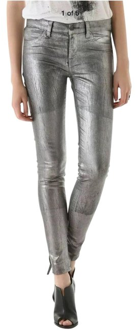 Item - Silver Coated Metallic Skinny Jeans Size 0 (XS, 25)